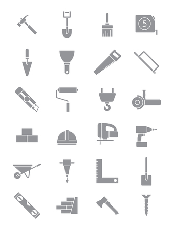 construction icons: Set of 24 grey construction icons