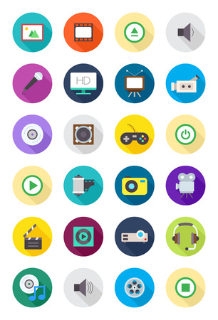multimedia icons: Set of 24 color round multimedia icons