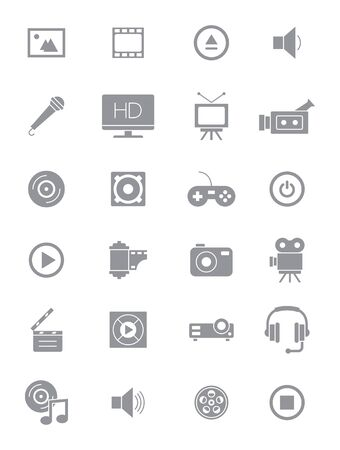 icons set: Set of 24 grey multimedia icons set