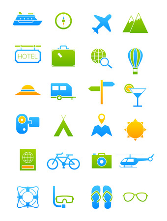 bluegreen: Set of 24 blue-green traveling icons