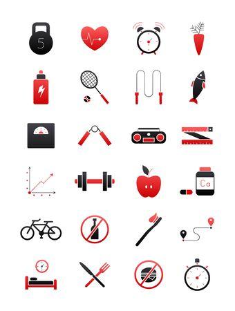 Set di 24 neri-rossi sani icone di stile di vita