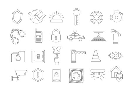 stop icon: Set of 24 security icons