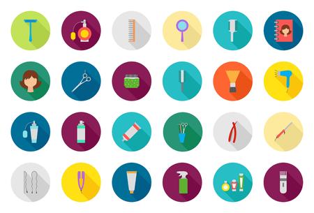 tijeras: Conjunto de 24 iconos de la barbería redondo del vector