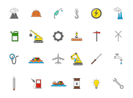 dam: Set of 24 Industry colorful vector icons