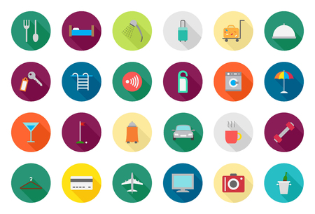 door bell: Set of 24 Hotel service vector round icons