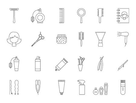 barbershop: Set of 24 Barbershop black icons