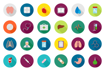 medical supplies: Set of 24 Medicine vector round icons