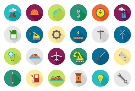 dam: Set of 24 Industry vector round icons Illustration
