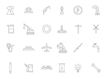 power station: Set of 24 Industry black icons Illustration