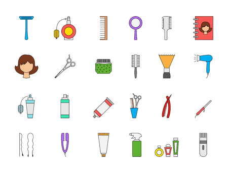 man illustration: Set of 24 Barbershop colorful icons