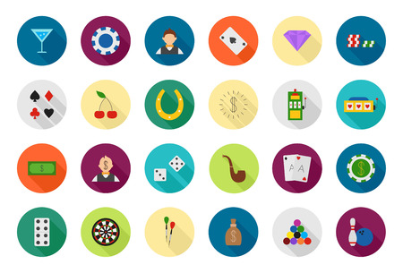 games of chance: Set of 24 Game of chance vector round icons