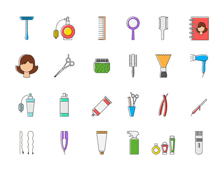 barbershop: Set of 24 Barbershop colorful vector icons Illustration