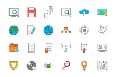 it technology: Set of 24 IT technology colorful vector icons