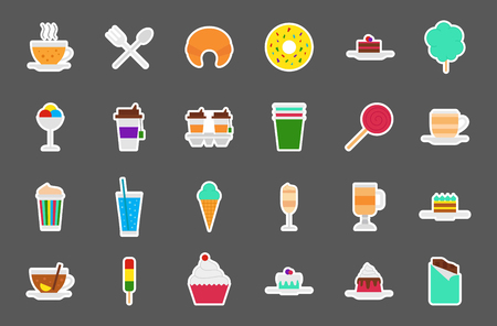 cafeteria: Set of 24 Cafeteria food vector stickers