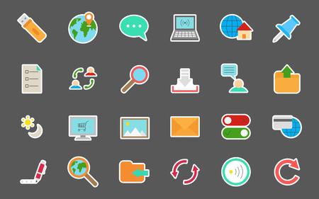 icono ordenador: Conjunto de etiquetas engomadas del vector 24 de internet Vectores