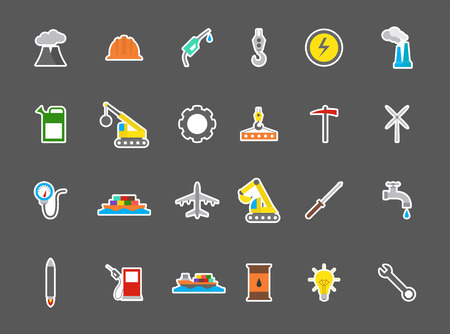 sectors: SDet of 24 Industry vector stickers
