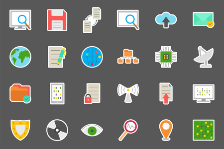 it technology: Set of 24 IT technology vector stickers