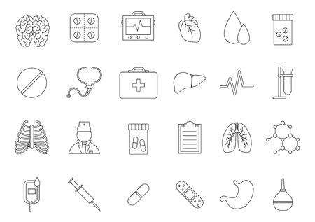 Médecine icônes noires définies