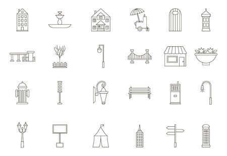 Set of 24 City elements black icons 向量圖像