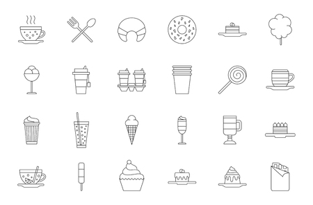 cafeteria: Set of 24 Cafeteria food black icons