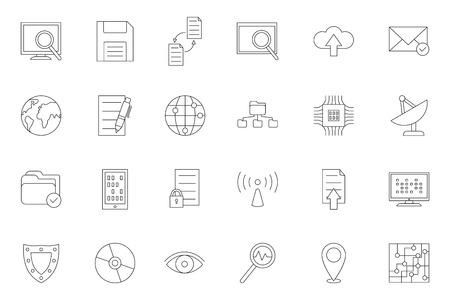 Conjunto de 24 iconos de tecnología de TI negros