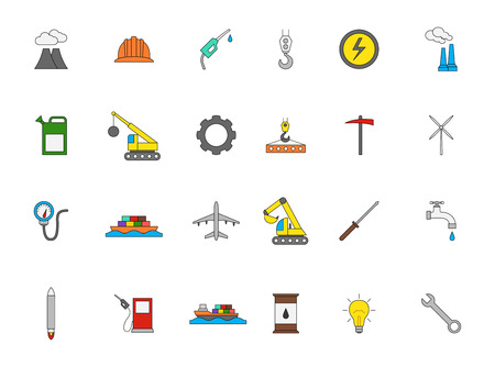 industry icons: Set of 24 Industry colorful icons