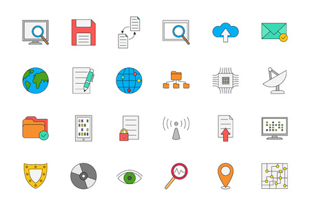 it technology: Set of 24 IT technology colorful icons
