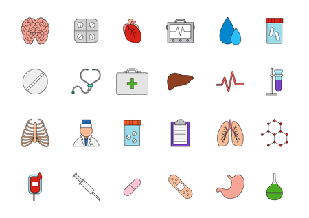 doctor exam: Medicine colorful icons set