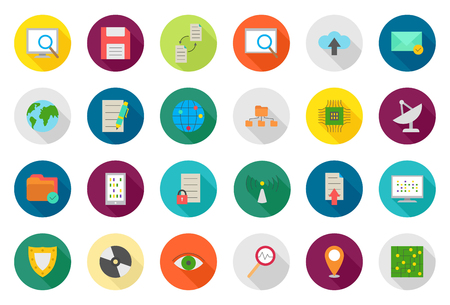it technology: IT technology vector round icons set