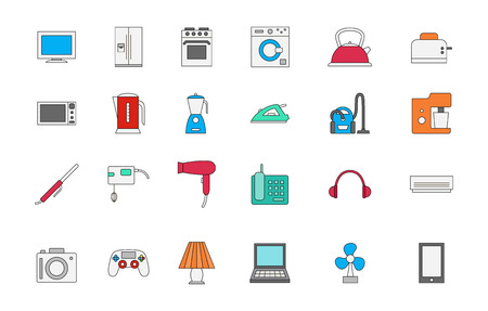 iron fan: Set of 24 Appliances colorful icons