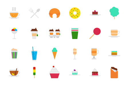 cafeteria: Set of 24 Cafeteria food vector icons Illustration