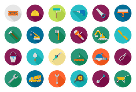 tools icon: Set of 24 Construction vector round icons