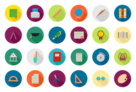 Set of 24 Education vector round icons Illustration