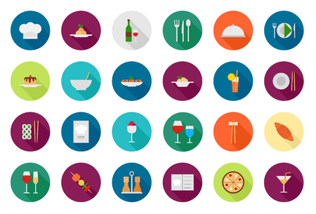 continental food: Restaurant food vector round icons set