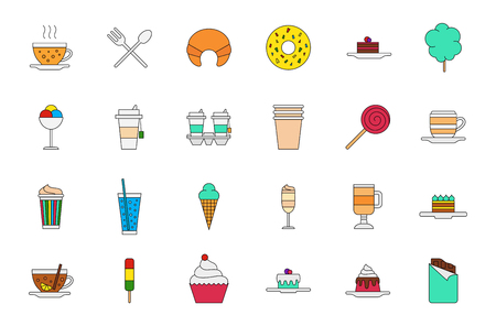cafeteria: Set of 24 Cafeteria food colorful icons Illustration