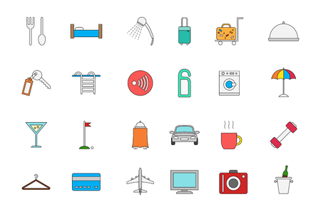 hotel rooms: Set of 24 Hotel service colorful icons Illustration