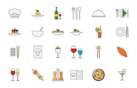 italian cuisine: Set of 24 Restaurant food colorful vector icons