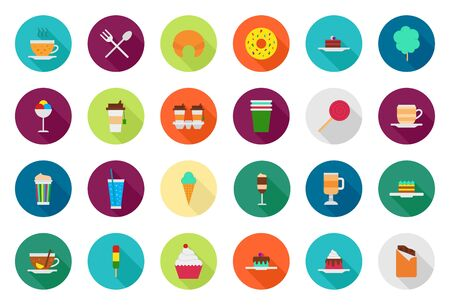 cafeteria: Set of 24 Cafeteria food vector round icons