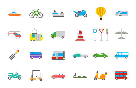yacht: Set of 24 Transport vector  icons