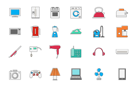 iron fan: Set of 24 Appliances colorful vector icons