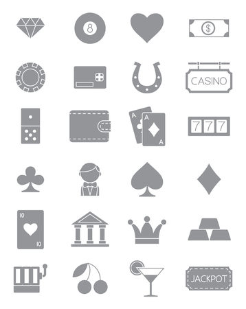 luck: Set of 24 games of chance gray vector icons Illustration