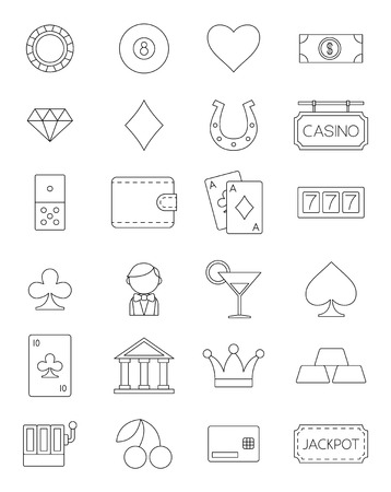 games of chance: Set of 24 games of chance black vector icons