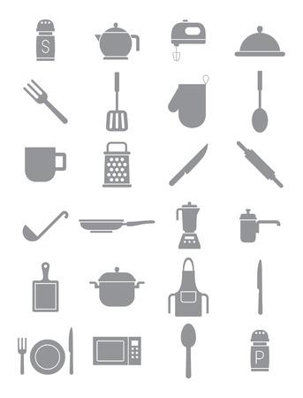 Set Di 24 Icone Della Cucina Oggetti Vettoriali Clipart Royalty ...
