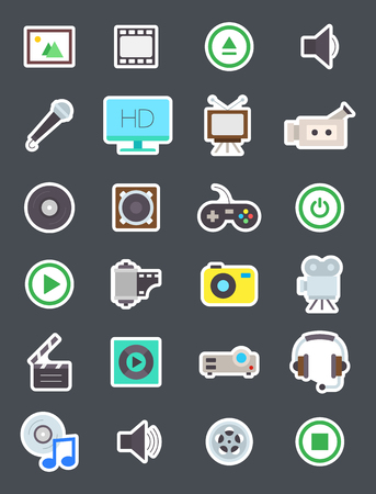 multimedia icons: Set of 24 Multimedia isolated vector icons