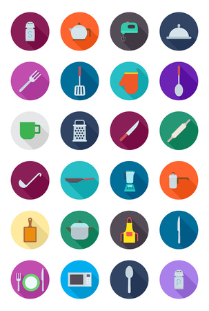 utensil: Set of 24 kitchen items round vector icons