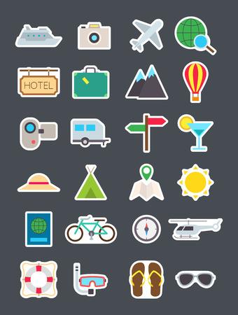 Conjunto de 24 viajes aislados iconos de vectores