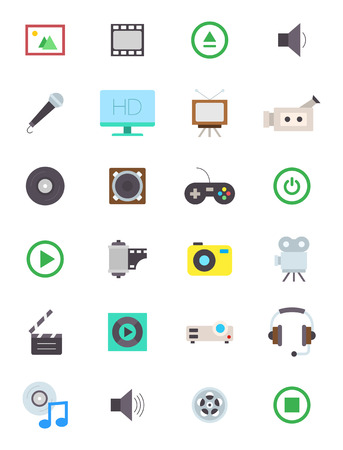 multimedia icons: Set of 24 Multimedia vector icons Illustration