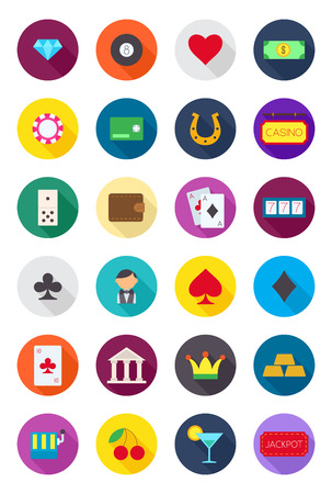 luck: Set of 24 games of chance round vector icons