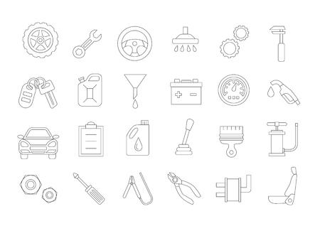 tire change: Set of 24 mechanic vector icons