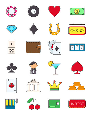 games of chance: Set of 24 game of chance vector icons
